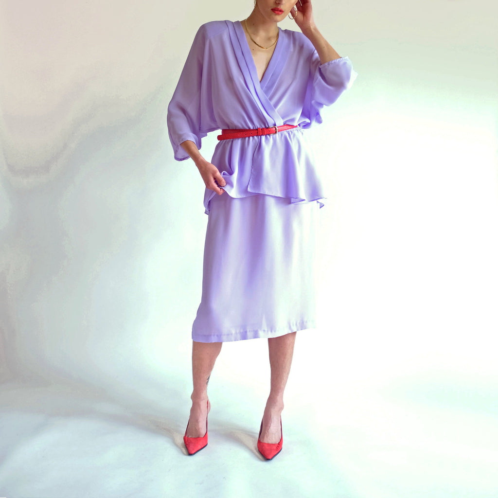 Vintage 80s Dolman Sleeve Peplum Dress in Lavender - 9/10