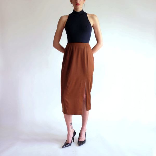 Vintage 90s Minimal High Waist Midi Skirt in Chestnut - Sz 6