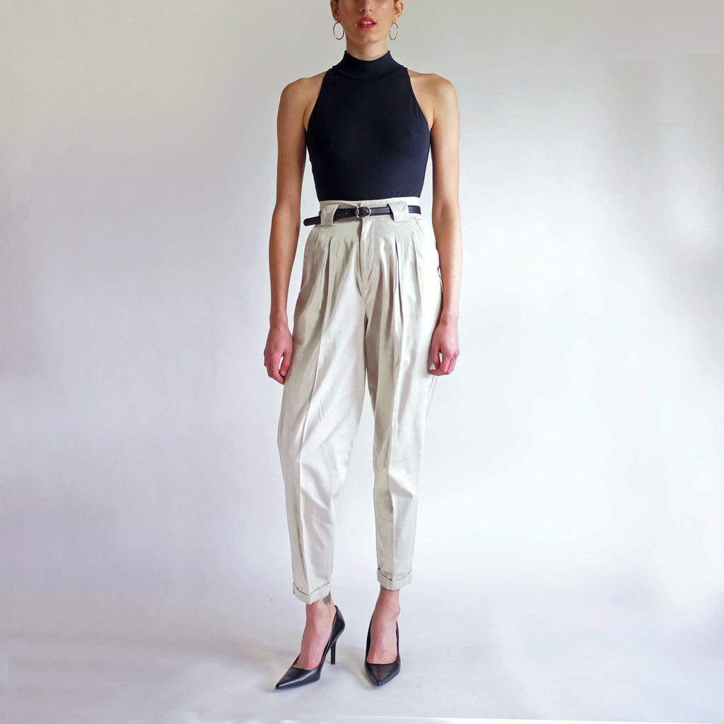Vintage 90s High Waist Pleated Tapered Khaki Trousers - Sz 5