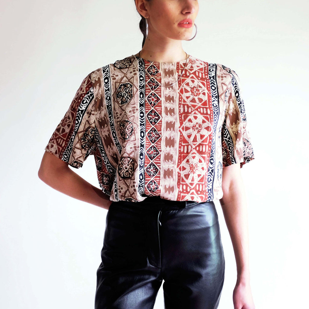 Vintage 100% Silk Abstract Pattern Tee - M/L