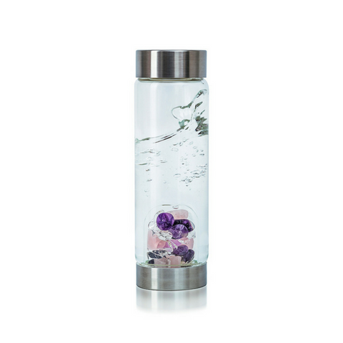 'Wellness' Gemstone Glass Water Bottle