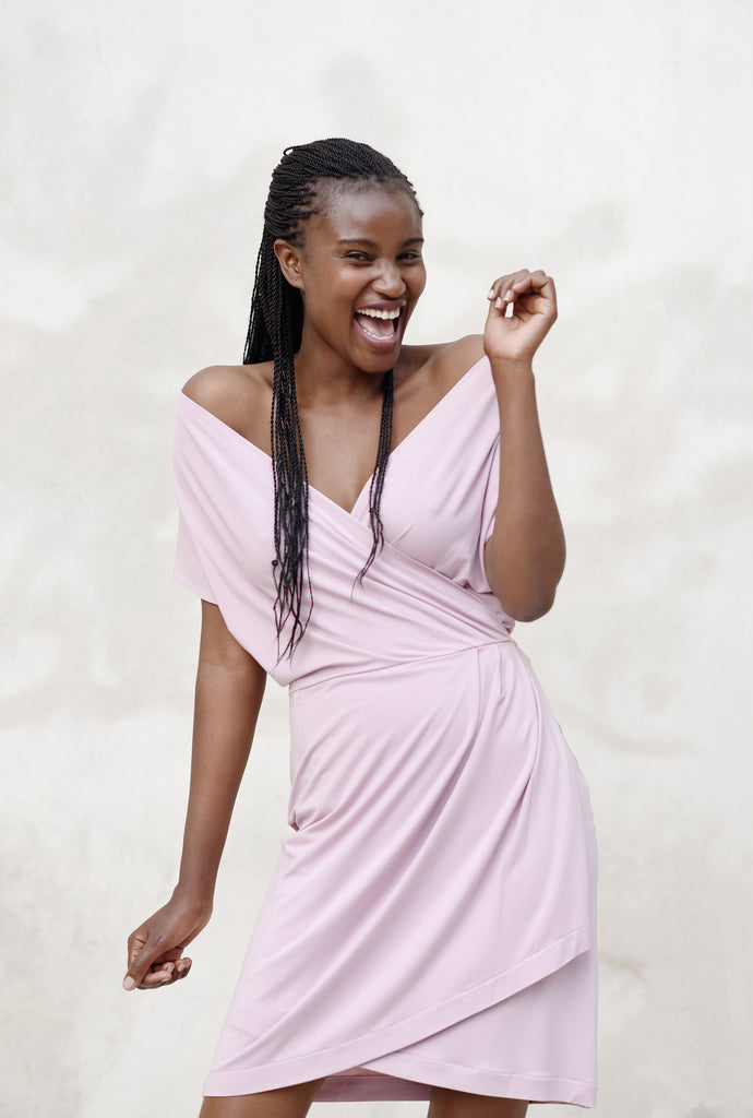 Dusty pink wrap dress