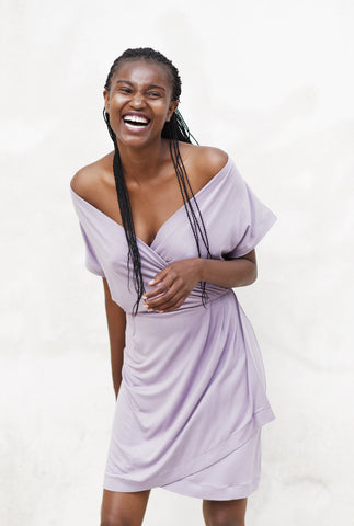 Dusty lilac wrap dress
