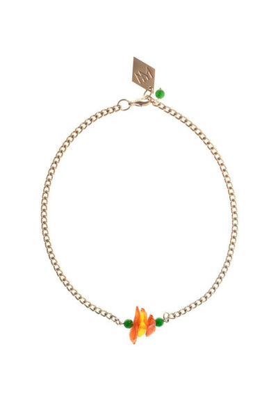 The amber nuggets are in the centre of the necklace with jade beads on the side featuring galvanized metal components.