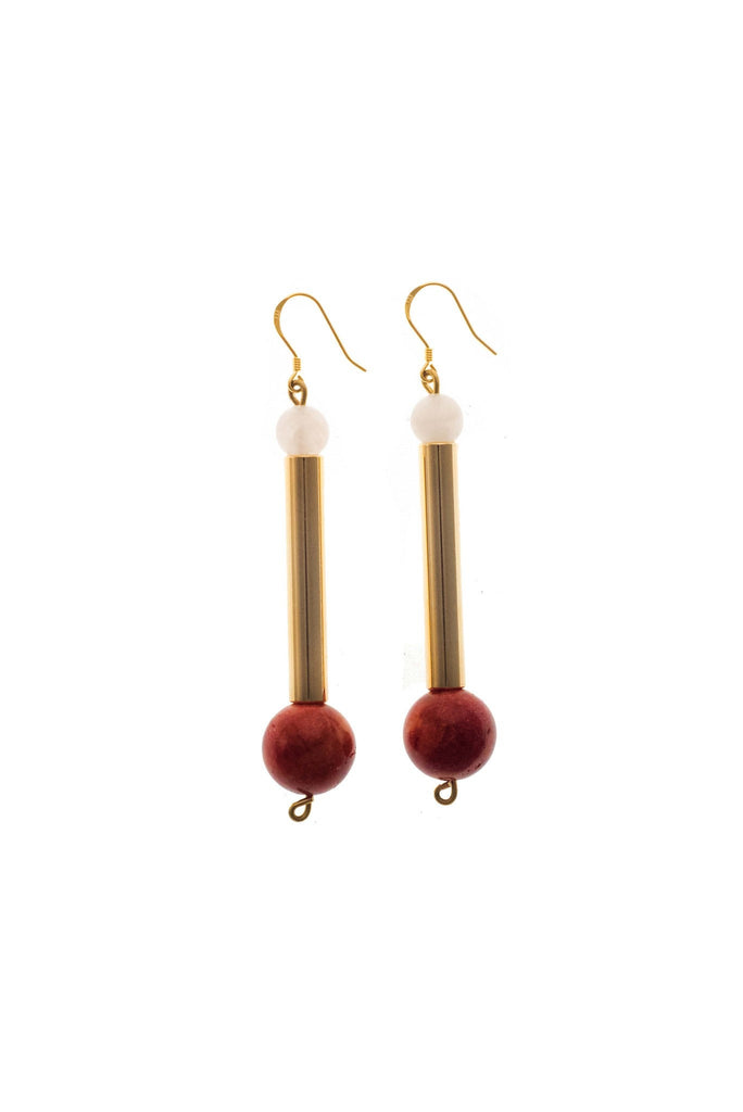 Bellevue earrings made of hand-cut, hand polished and galvanized brass, rose quartz, red coral and gold plated sterling silver.