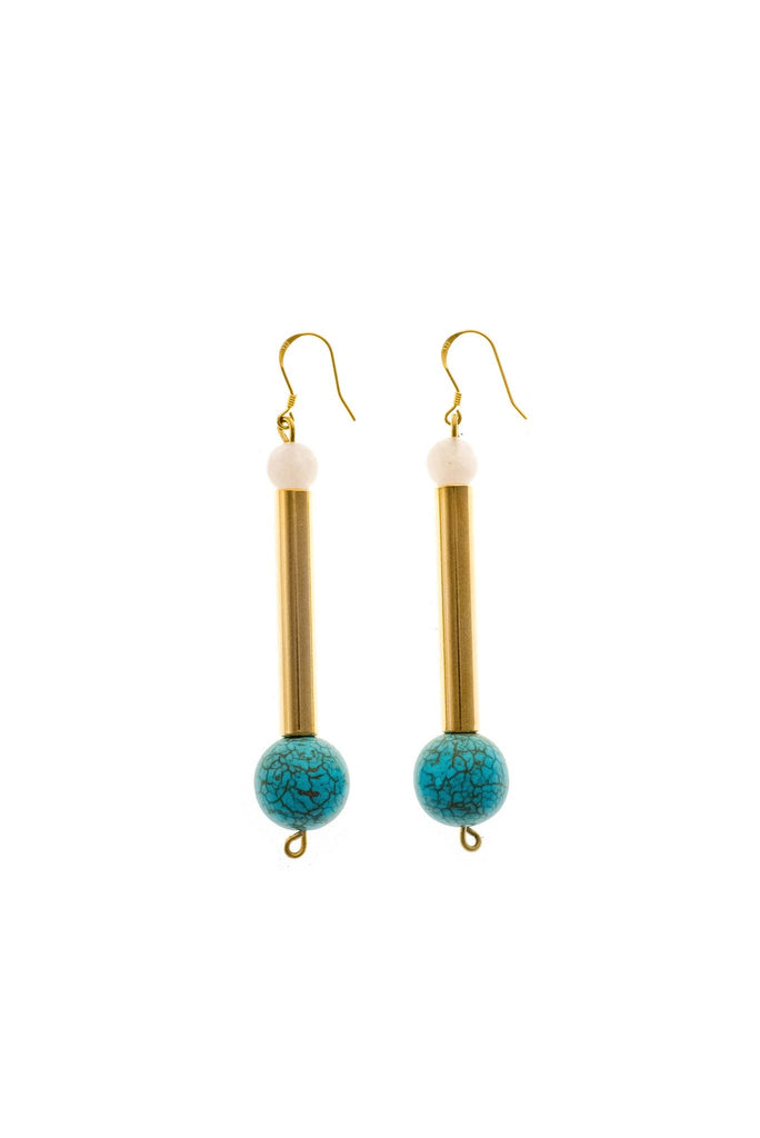 Bellevue earrings made of hand-cut, hand polished and galvanized brass, rose quartz, turquoise and gold plated sterling silver.