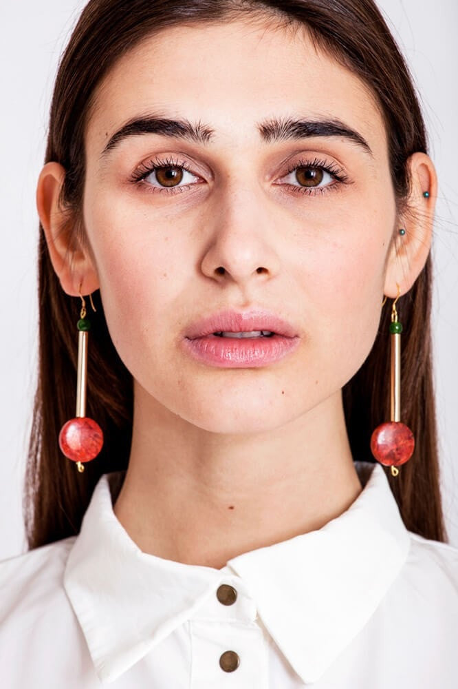 Button earrings gold edition made of hand-cut, hand polished and galvanized brass, jade and red coral.