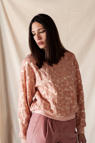 Dusty Pink Brocade Sweatshirt