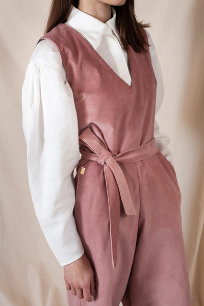 V Neck Jumpsuit Dusty Pink