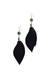 Leaf earrings made of hand-cut black leather, galvanized brass, rutilated quartz and sterling silver.