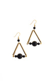 Triangle earrings made of hand-cut, hand polished and galvanized brass, onyx and gold plated sterling silver.