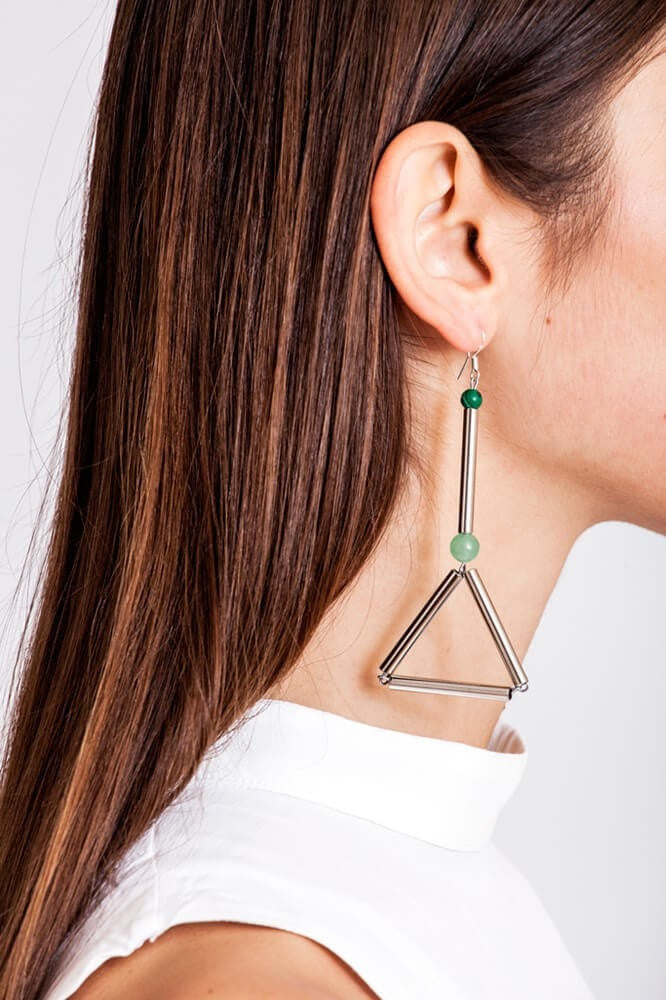 Silver - Libra earrings are made of hand-cut and galvanized brass, malachite, aventurine and sterling silver.