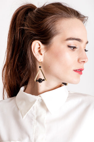 The Triangle earrings - onyx & gold