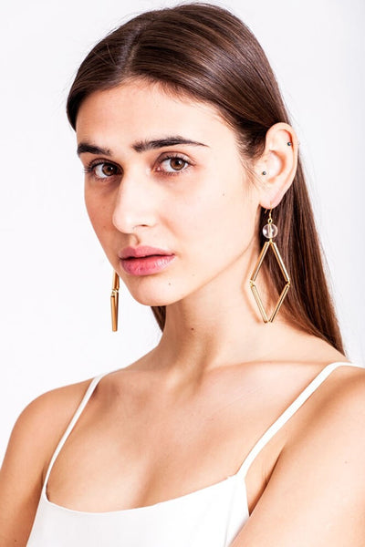 Norma earrings made of quartz, brass and gold plated sterling silver
