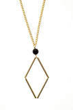Norma necklace small features hand-cut, hand polished and galvanized brass and onyx.