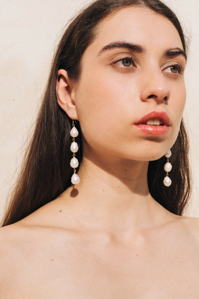 Pearl Drop Earrings in Gold by sustainable designer brand Little Wonder