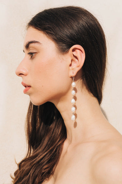 Pearl Drop Earrings Long in Silver by sustainable designer brand Little Wonder