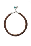 Snake necklace made of finest sheep napa in cognac brown, galvanized metal components and turquoise.