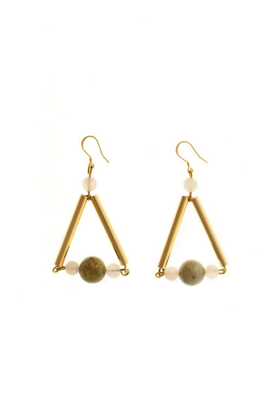 Triangle earrings made of hand-cut, hand polished and galvanized brass, labradorite, rose-quartz and gold plated sterling silver.