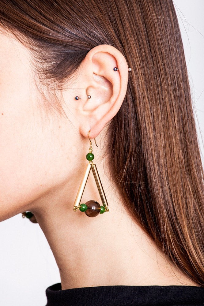 Triangle earrings made of hand-cut, hand polished and galvanized brass, smokey quartz, jade and gold plated sterling silver.