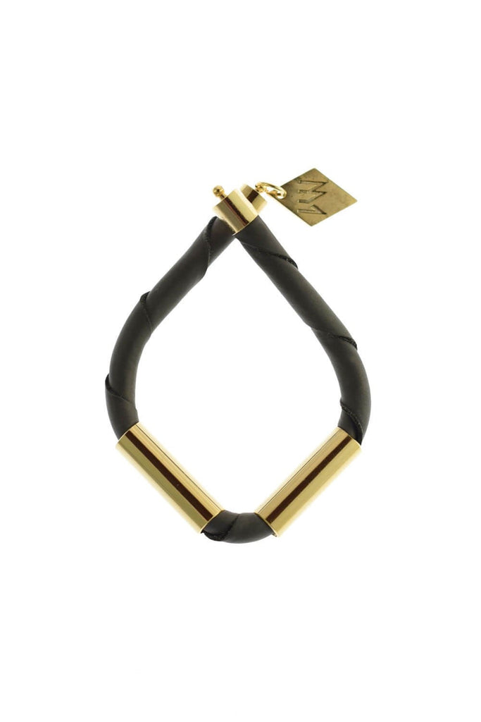 Triangle cuff in anthracite leather gold edition.