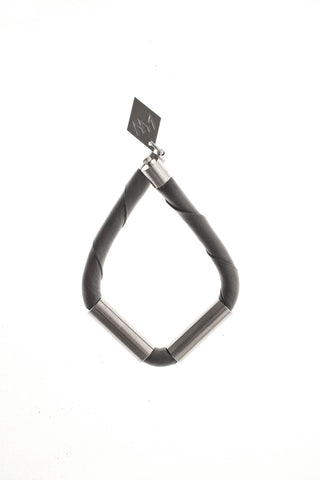 Triangle cuff - gray leather & silver
