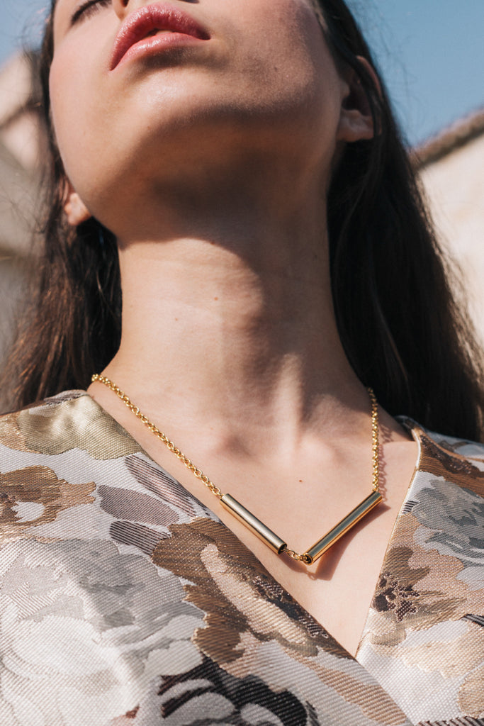 Tubes Necklace Gold by sustainable designer brand Little Wonder