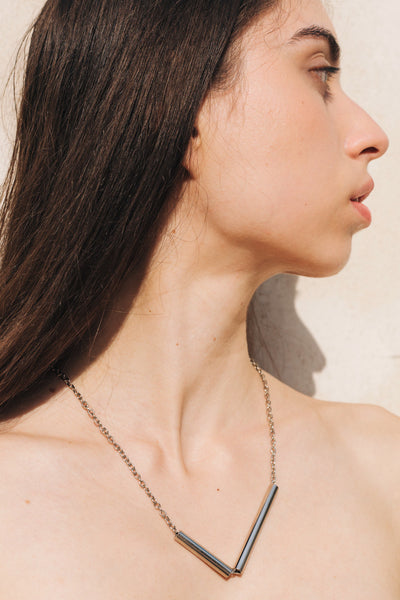 Tubes Necklace in Silver by sustainable designer brand Little Wonder