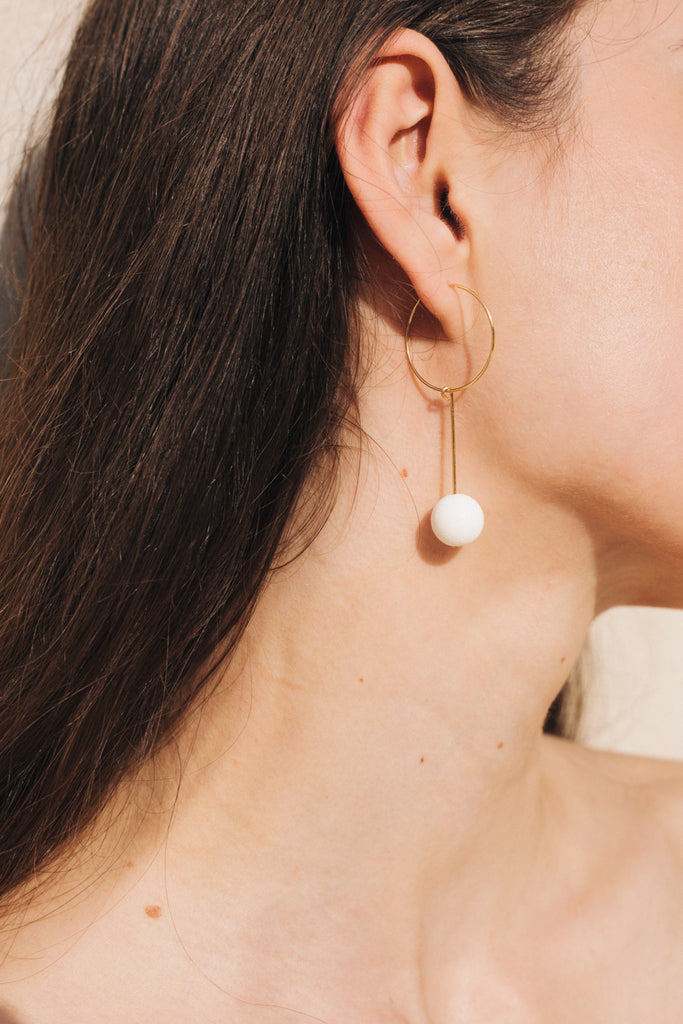 White Coral Drop Earrings in Gold by sustainable designer brand Little Wonder