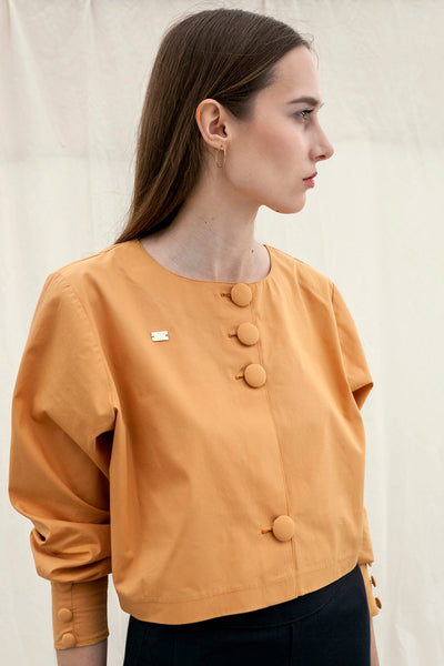 Yellow Ochre cropped cotton blouse by Chicks on Chic