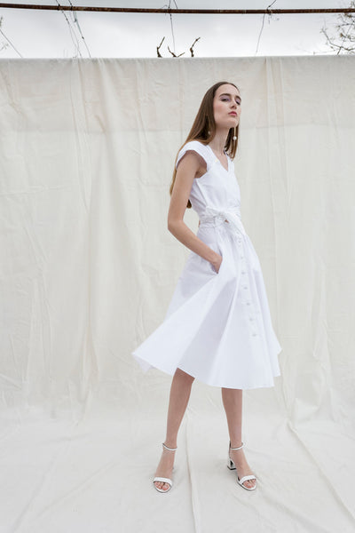 Paloma dress in white poplin by Chicks on Chic