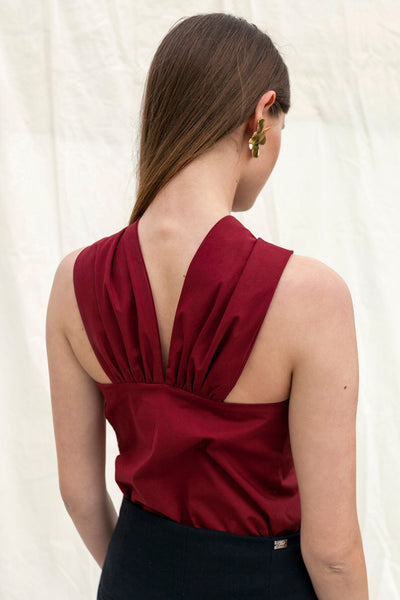X top by Chicks on Chic in burgundy colour