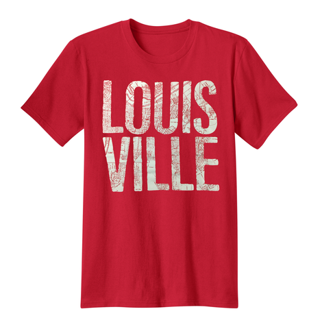 Louisville City Map Tee - Red