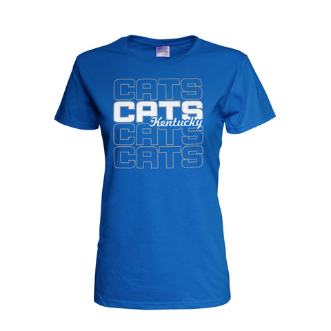 Kentucky Wildcats CATS CATS CATS Ladies Tee - Royal