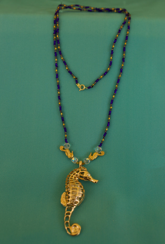 Blue, Grey, and Gold Seahorse Pendent