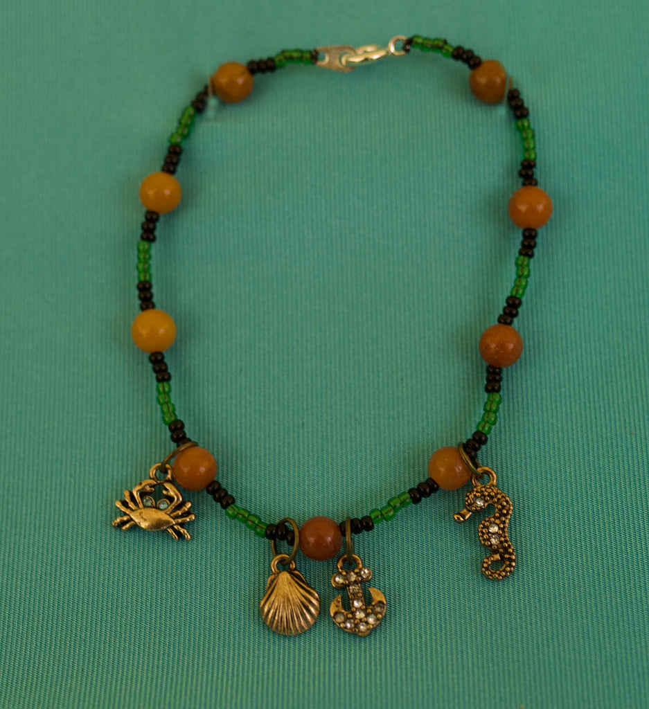 Green, and Black Bracelet with Charms