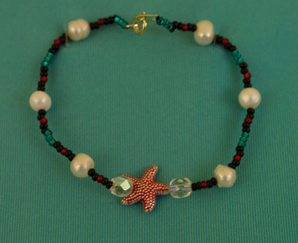 Green, Black, and Red Starfish Bracelet