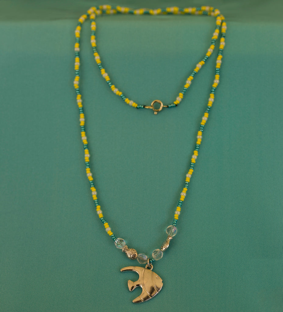 Silver Fish with Green, Yellow, and White Beads