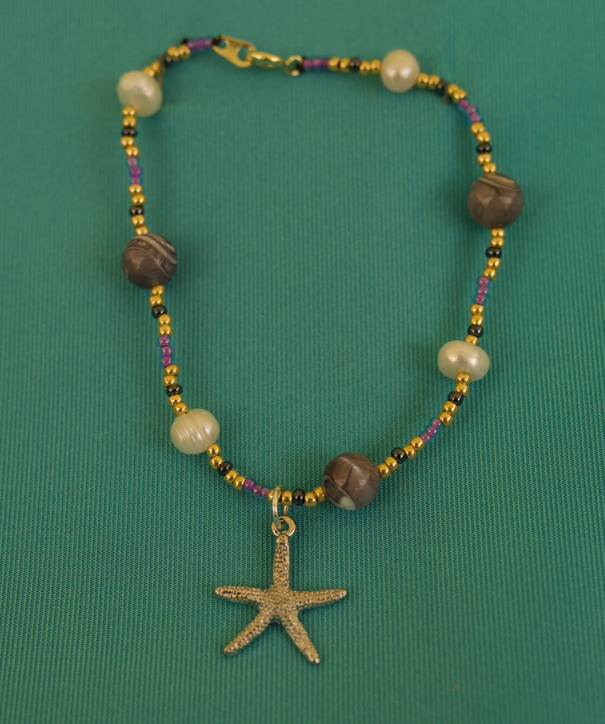 Purple, Gold, and Grey Starfish Bracelet