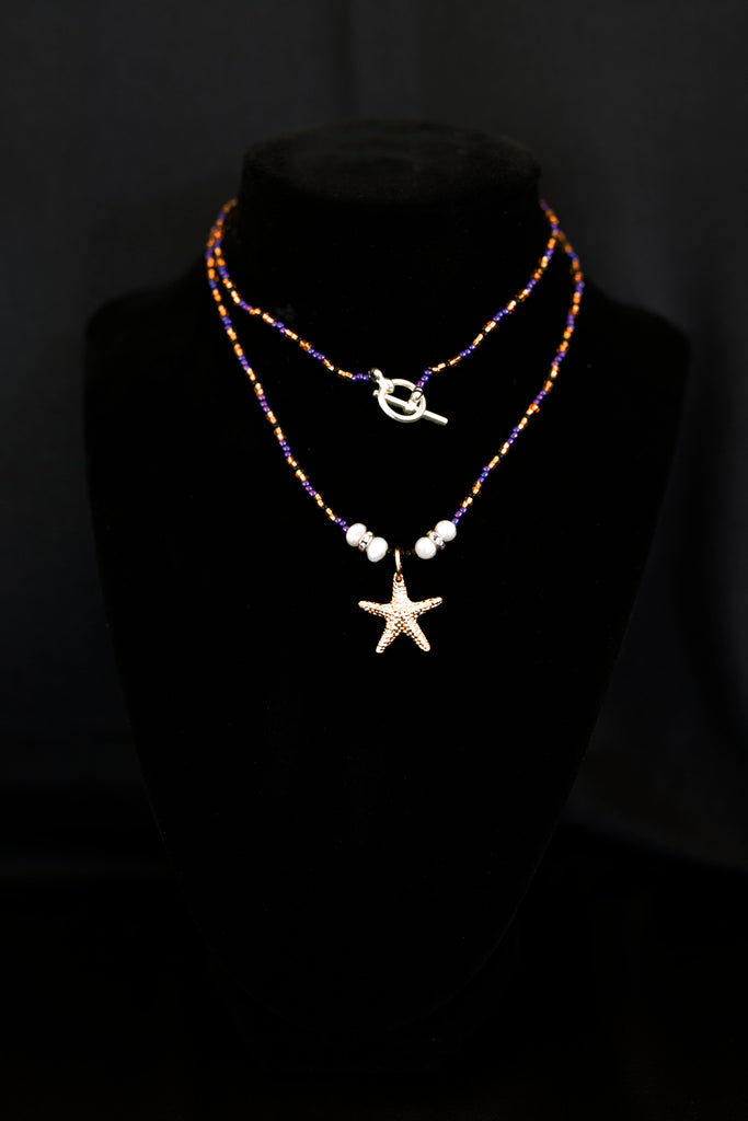 Purple, Gold, and Black Starfish Pendant