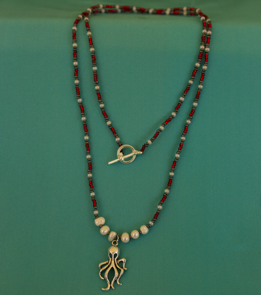 Red, Grey, and White Beads with Silver Octopus Pendent