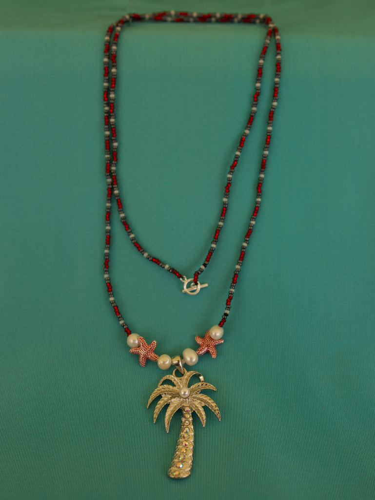 Red, Grey, and White Palm Tree Encrusted with Rhinestones