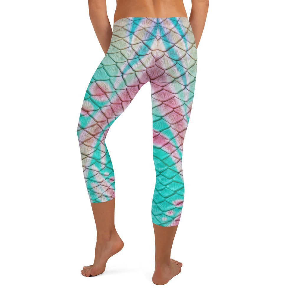 Turquoise Sunrise Capri Leggings