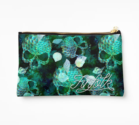 Teal Scale Clutch Bag