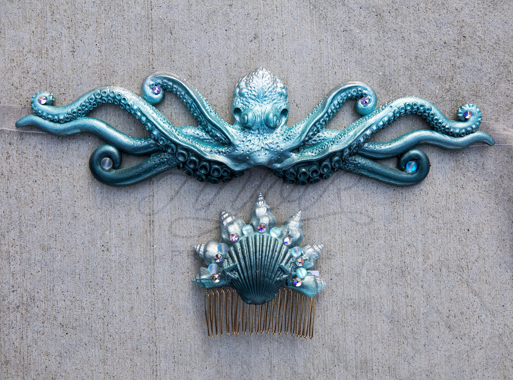Stormy Seas Crown Jewel Seashell Comb