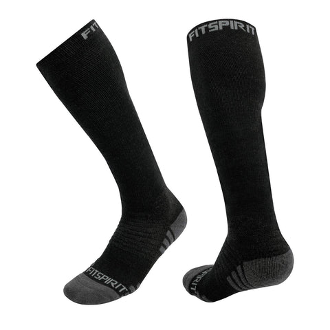 Fit Spirit 2 Pairs Merino Wool Graduated Compression Midweight Training Socks - Large