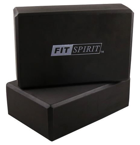 Fit Spirit Set of 2 Black Exercise Yoga Blocks - Combo
