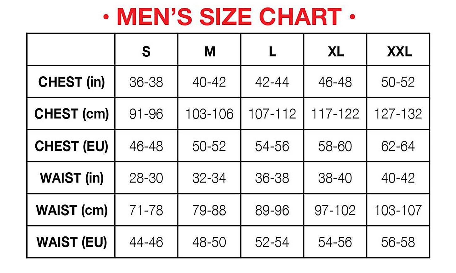 Hot Chillys Mens Base Layer Size Chart