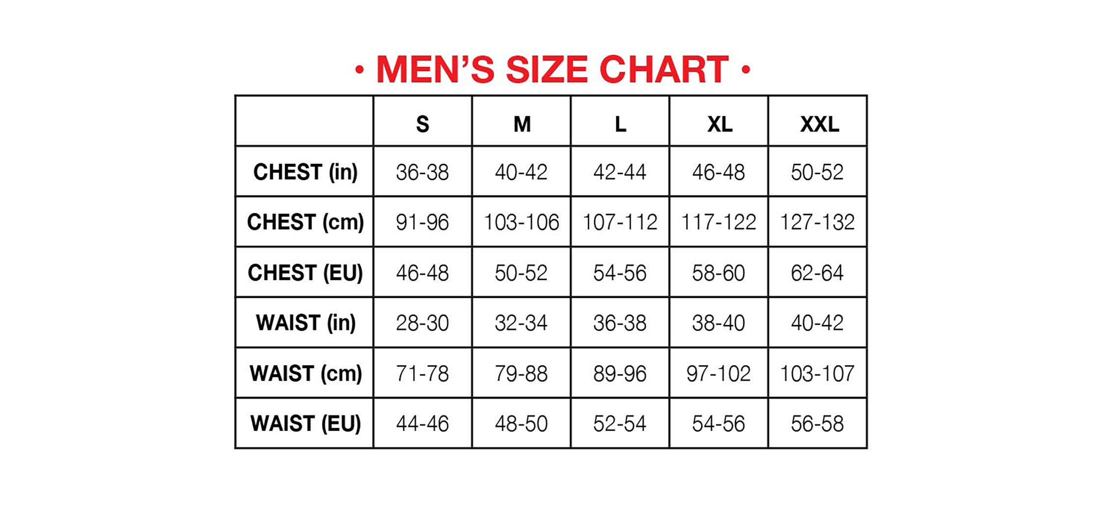 Hot Chillys mens size chart