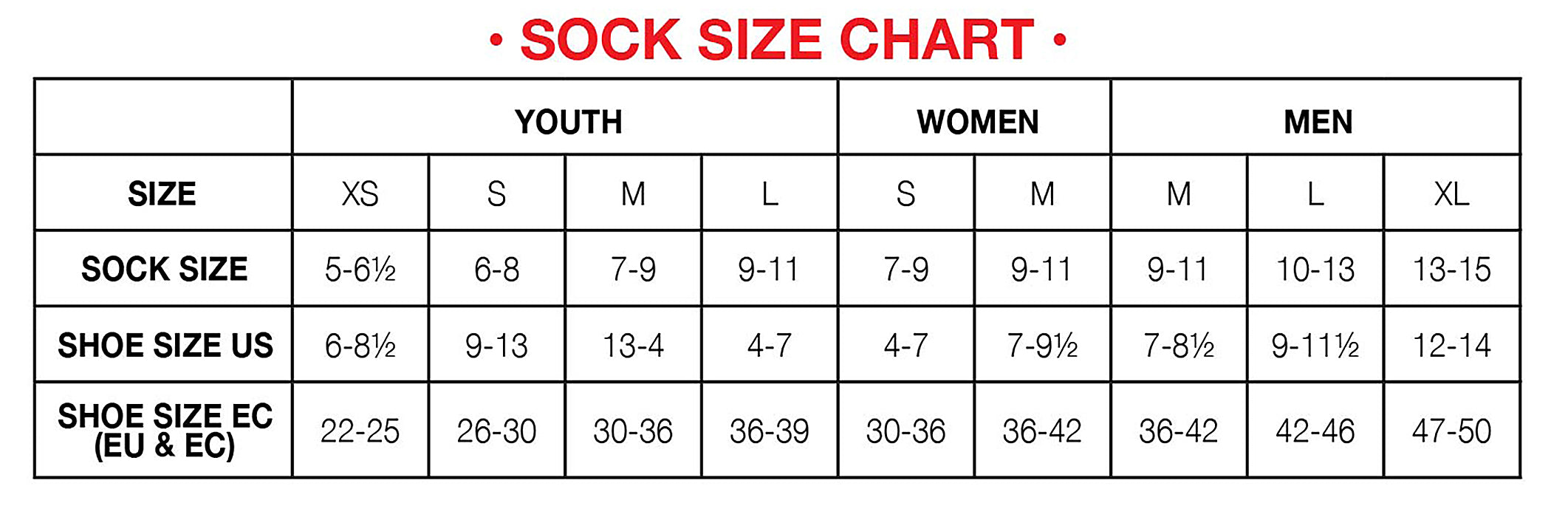 Hot Chillys Sock Size Chart